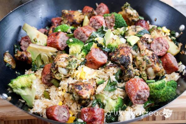 Grilled Chicken Stir Fry Recipe with Sausage