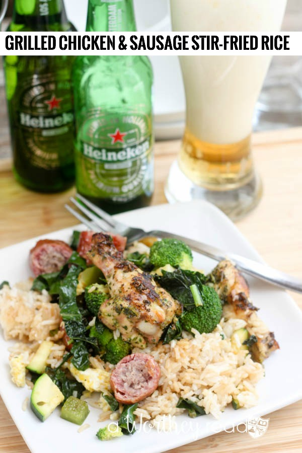 Our Grilled Chicken & Sausage Stir-Fried Rice might just make regular stir-fry obsolete. This stirfry has has smoked bratwurst sausage and mini-chicken drummies with our super fresh Garden Herb Chimichurri! Click through to get the recipe!