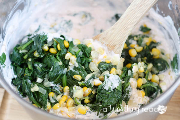game day appetizers with spinach, corn, cheese
