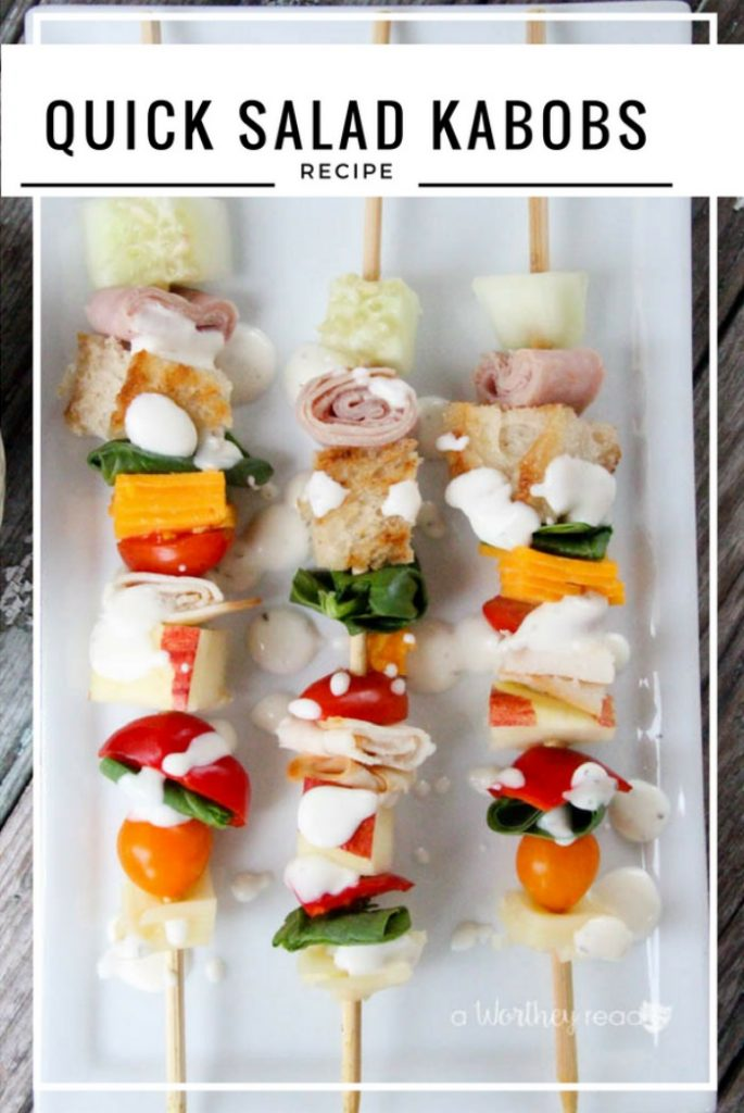 Healthy Snack Idea, Back To School Lunch Idea- Quick Salad Kabobs