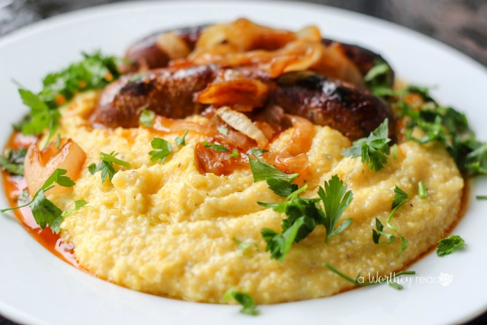 Cheesy Grits & Lamb Sausage