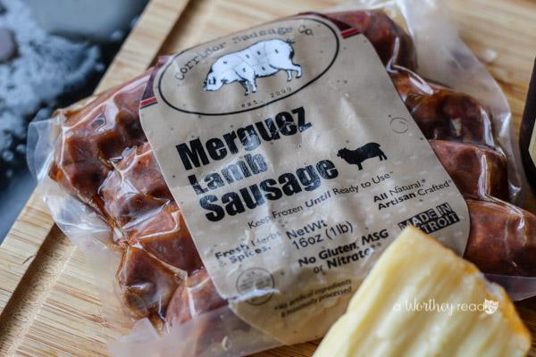Cheesy Grits & Lamb Sausage