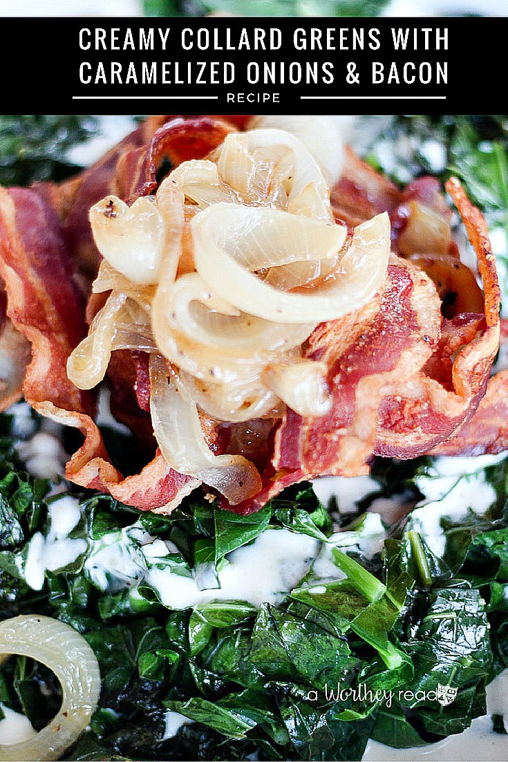 Upgrade your basic collard green recipe this Thanksgiving. Try our Creamy Collard Greens with Caramelized Onions & Bacon. Great side dish for Thanksgiving, Christmas, Sunday dinner, or any time of the year! Best collard greens recipe!