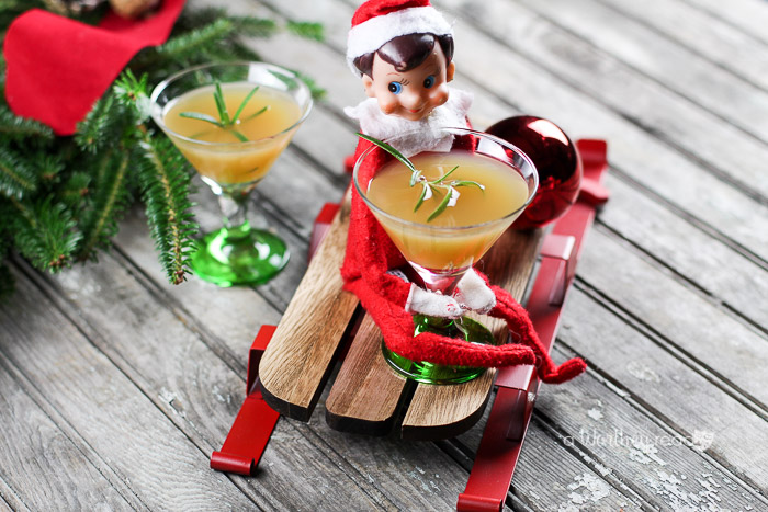 Elf on the Shelf Drink Idea: Apple Ginger Sour Mocktail with Rosemary Your Elf on the Shelf will be tired from running back and forth to the North Pole. Let him relax with this Christmas mocktail drink idea!