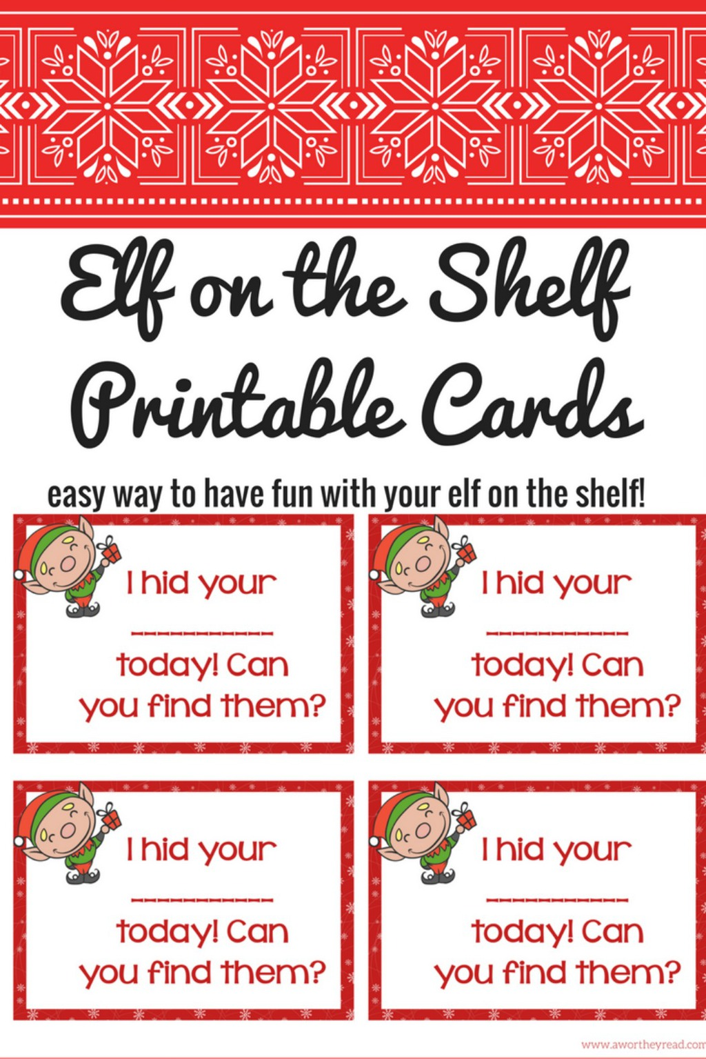 Check out these Elf On The Shelf Ideas with Printable Cards to give you a break from posing your Elf every day! Print our cards and add to your routine!