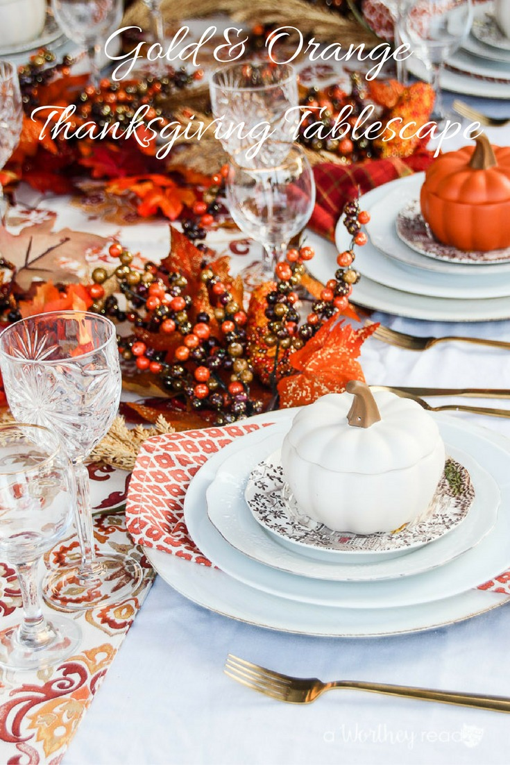 Gold & Orange Thanksgiving Tablescape