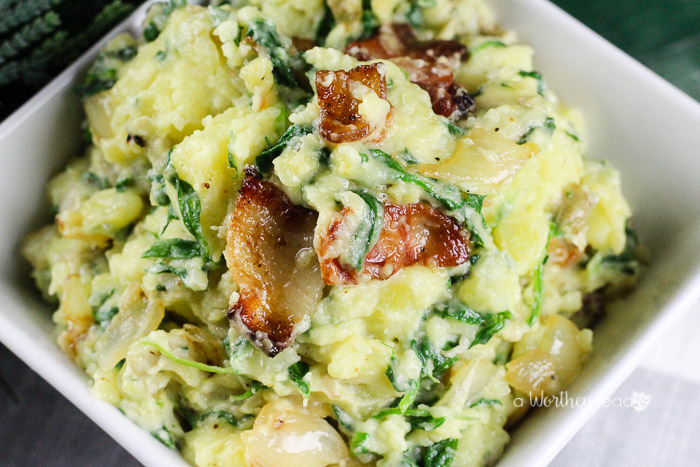 Potatoes are always a great side dish for Thanksgiving, Easter, or  Sunday Dinner. Take your potato dish and turn it into an amazing side dish filled with spinach and bacon! Get this potato recipe on the blog - Spinach & Bacon Smashed Potatoes