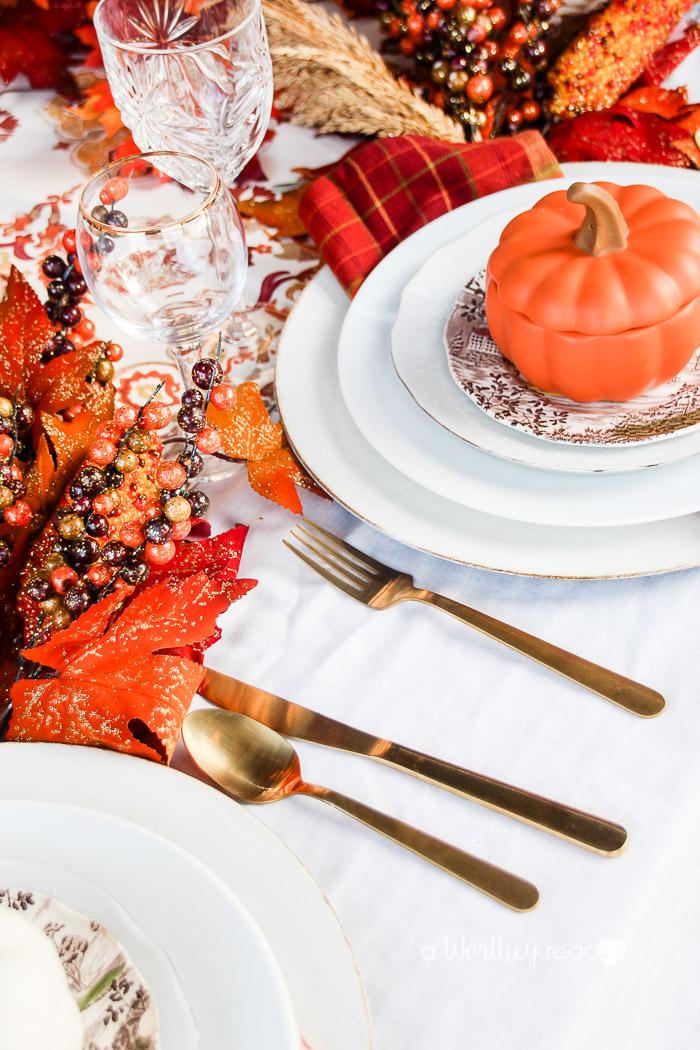 Gold & Orange Thanksgiving Tablescape