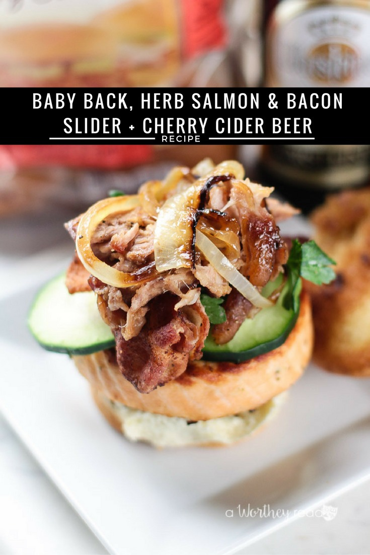 It's a new year, and it's time to start thinking about what you will serve at your upcoming football party. We have the perfect beer + buns combo to try, our baby back, herb salmon and bacon sliders, plus a Cherry Cider Beer mix will be the hit at your party. Baby Back, Herb Salmon & Bacon Slider + Cherry Cider Beer