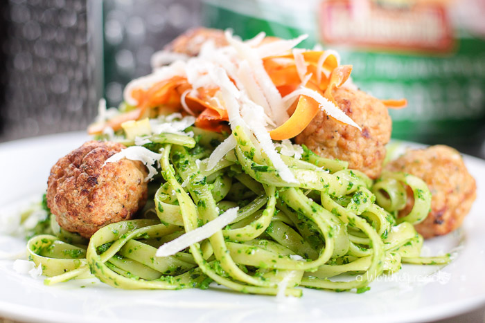 Easy Pasta Dinner Idea in under 30 minutes. Try our Winter Pesto Pasta recipe with Meatballs for dinner!