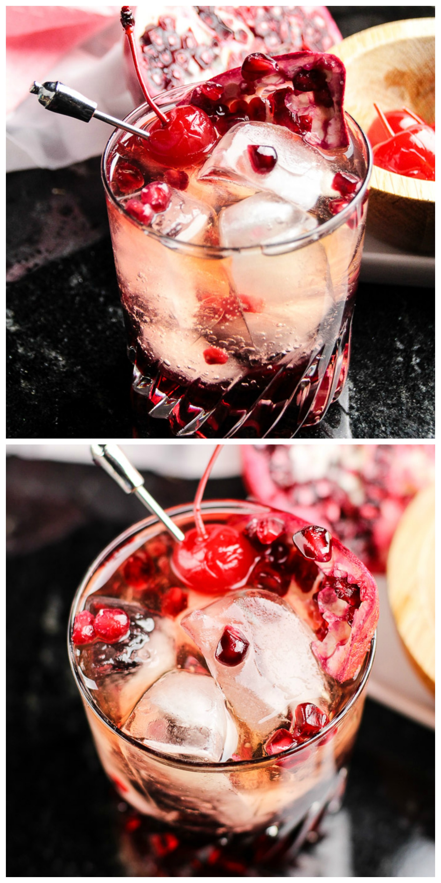 Our PomCherry Whiskey is mixed with Pomegranate, Cherry, and a little whiskey. This elegant drink is great for a nightcap, or an impressive way to wow your party guests. Either way, this refreshing whiskey drink is one to add to the cocktail menu.