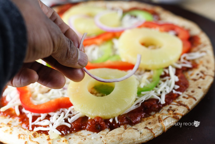 Savory Pineapple, Bacon + Chicken Pizza