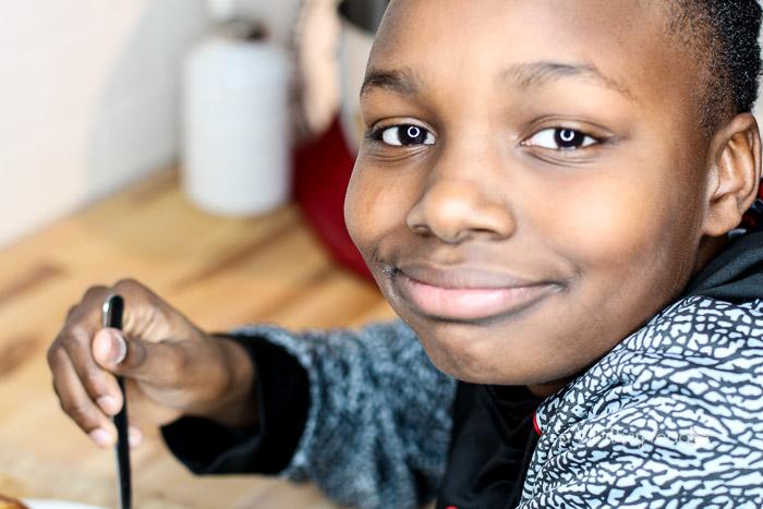Kid enjoying buttermilk pancakes