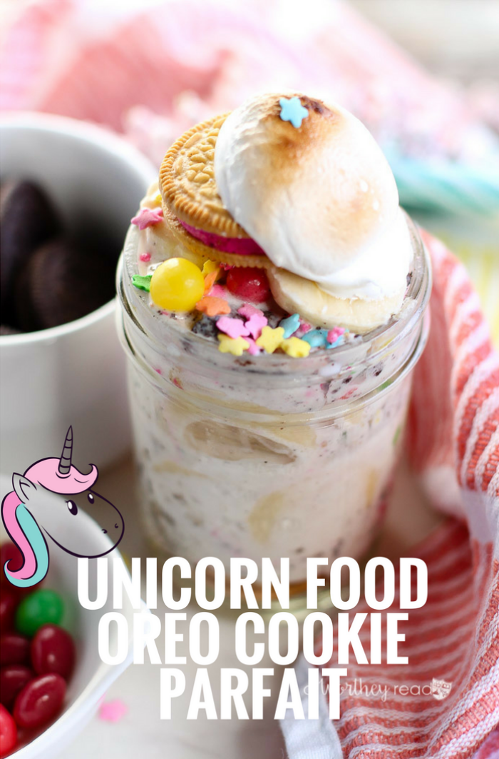 With National Oreo Cookie day coming up on March 6th, we figured this would be a great way to celebrate with oreo recipes! Our unicorn friends stopped by for a snack, and we had to make them some awesomely delicious unicorn food. We took some of their favorite treats like candy, Oreos, ice cream and fruit and combined it all to make Unicorn Food Oreo Cookie Parfait.