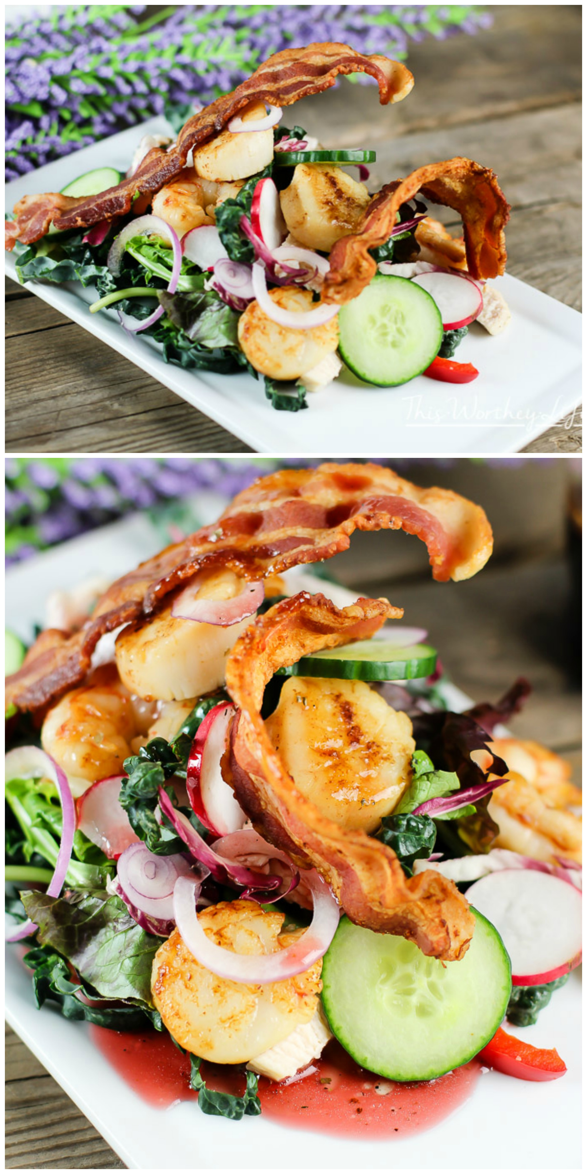 Salads are the perfect light summer meal ideas to make! We took your original surf + turf recipe to make the ultimate surf + turf salad. Loaded with chicken, scallops, and bacon, this summer salad recipe is bangin' with a ton of delicious goodness! Get the recipe on the blog- The Ultimate Turf + Surf Summer Salad