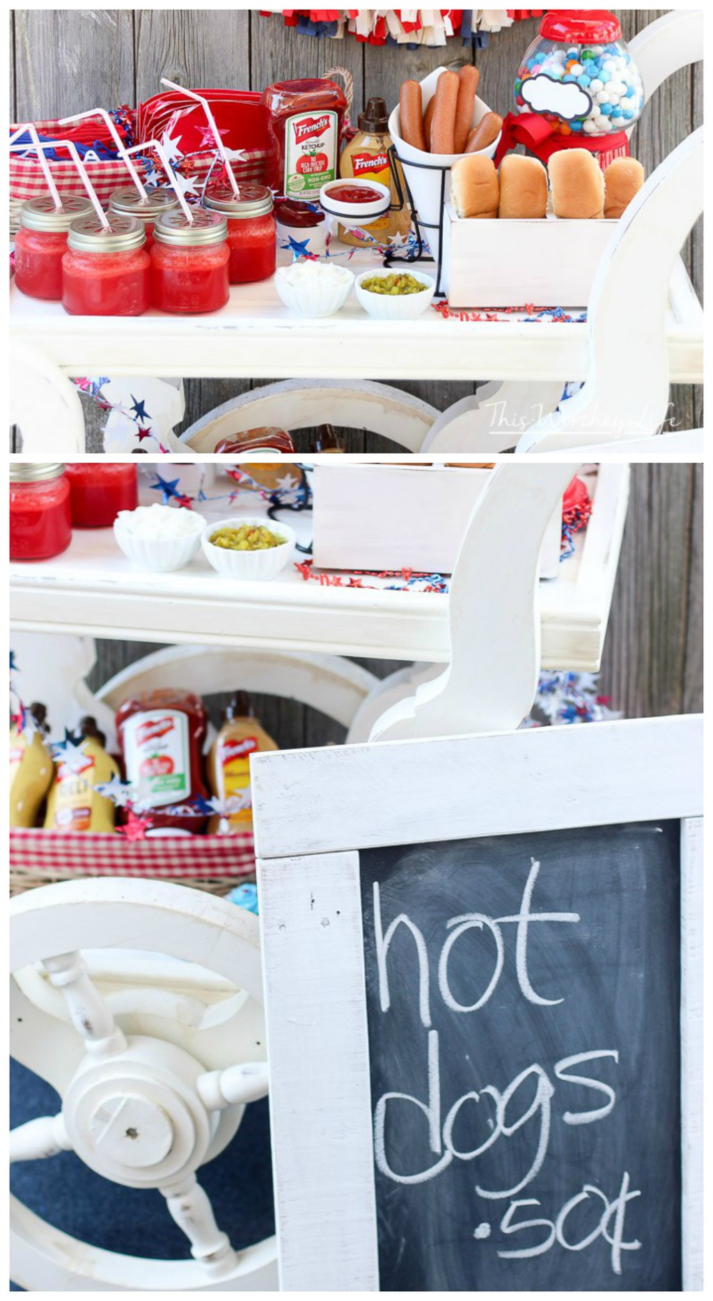 Get creative for your 4th of July party by adding an Americana Hot Dog Stand. This hot dog cart idea can easily be used for birthday parties, weddings, or fun summer parties! Get the details on the blog on how to create your own DIY Hot Dog Stand.