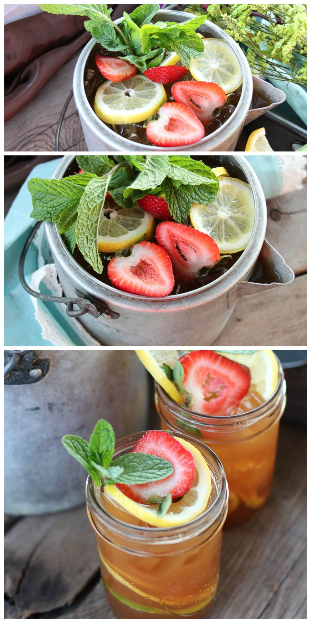 This ice tea is calling your name. Our summer ice tea cocktail has strawberries, Jack Daniels Whiskey, Lemon and mint. Get the recipe on the blog and make this easy summer cocktail today!