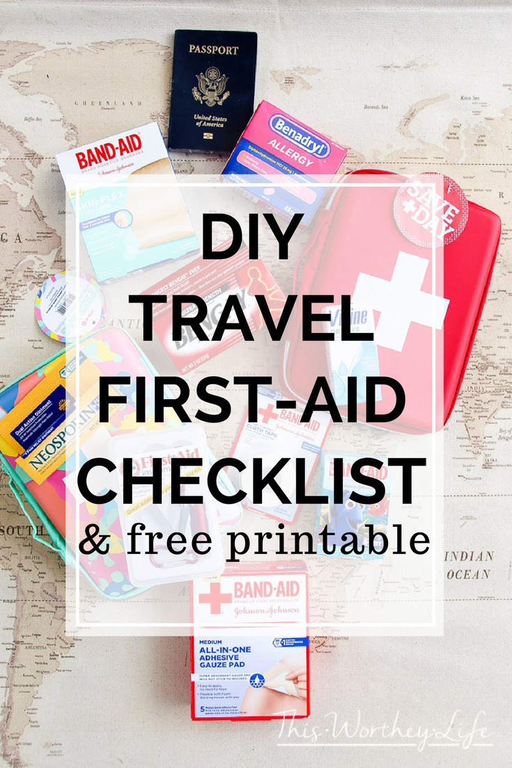 When you're packing your bags to travel, don't forget the first-aid essentials. Here are a few tips on how to create your own DIY Travel First-Aid Kit, with a free printable. This travel first-aid checklist will ensure you don't miss out on packing the travel first-aid essentials!