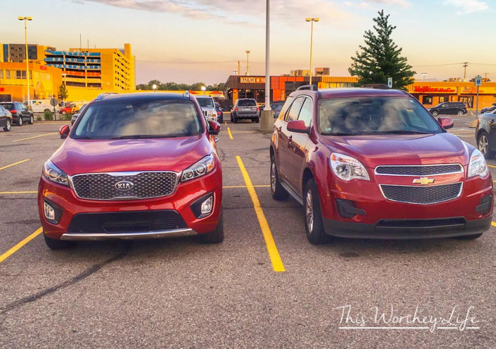Side by side comparison of the KIA Sorento and Chevy Equinox