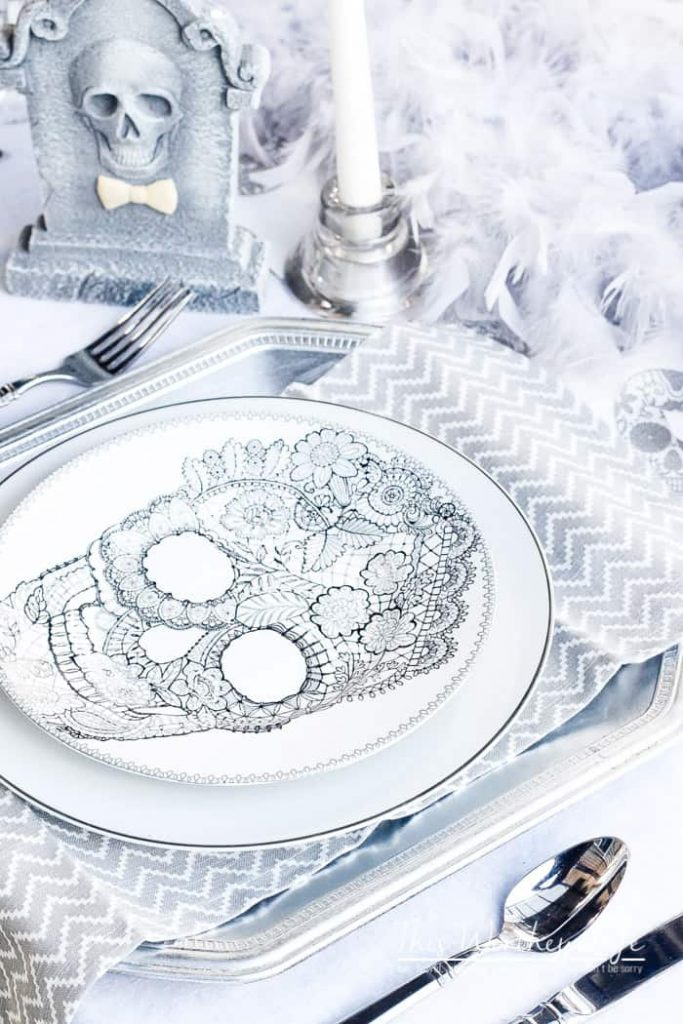 Grey & White Skeleton Graveyard Tablescape