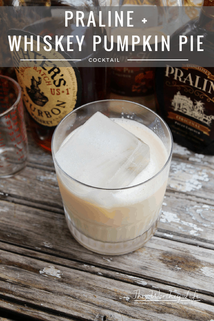 Get cozy with a chilled fall cocktail, using only three ingredients, including pumpkin pie, pecan liqueur, and bourbon. Praline + Whiskey Pumpkin Pie Cocktail