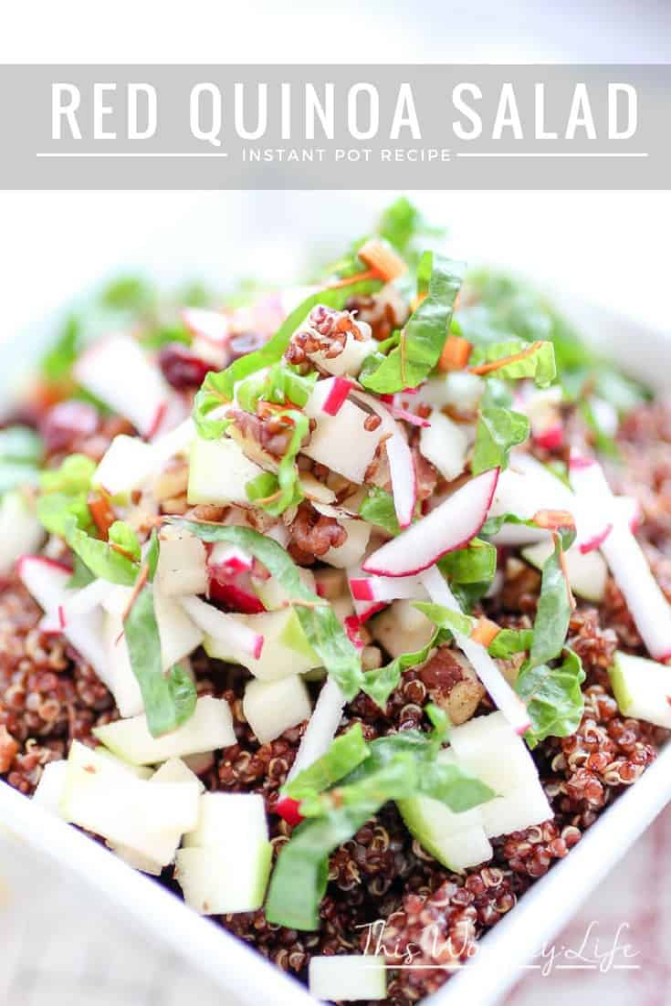 A farmer's market salad mixed with fresh veggies, red quinoa made in the instant pot, with cranberries and walnuts. Try our Red Quinoa Salad, a healthy salad recipe to enjoy any time of the year.