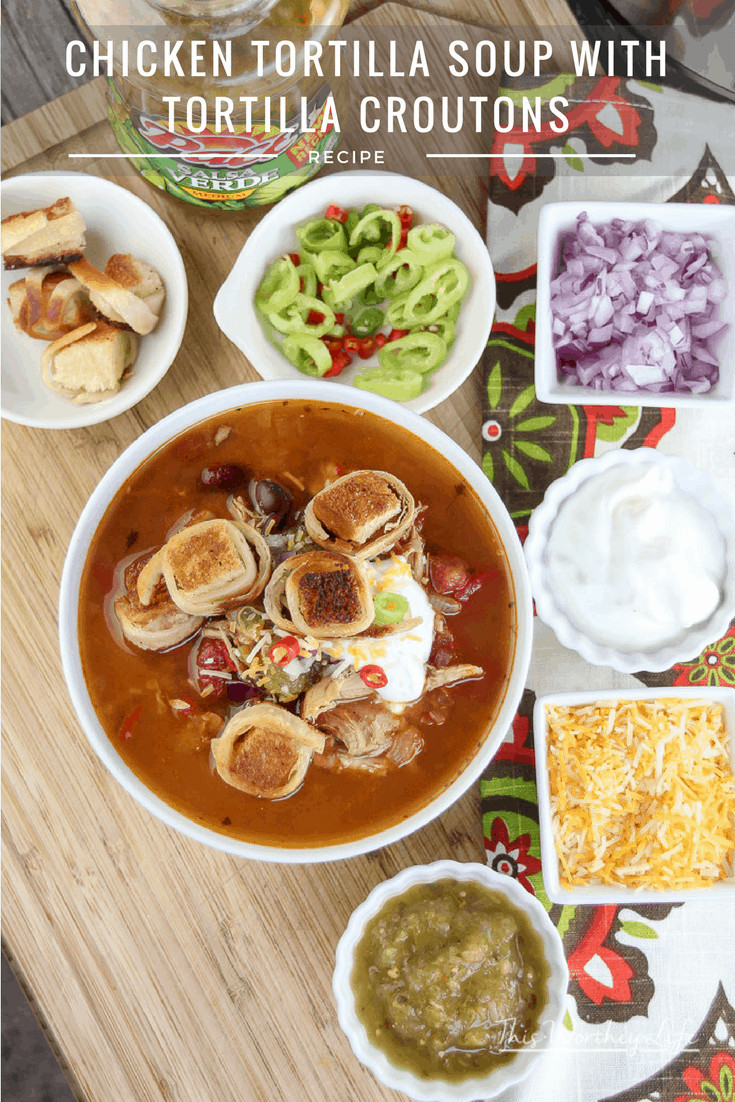 Warm up with this hearty and comfort food. Our Instant Soup recipe is super easy to make, filled with delicious ingredients. You can use your slow cooker or Instant Pot to make this chicken soup recipe. Get the recipe on the blog: Chicken Tortilla Soup with Tortilla Croutons