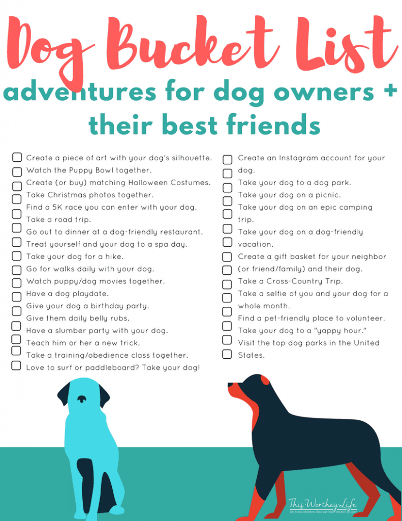 FREE Dog Bucket List Printable