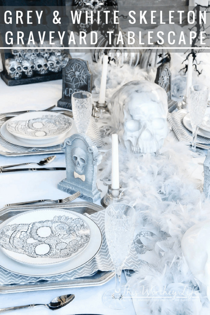Pull out the Halloween decor and create a beautiful and creative Halloween Tablescape. We put together a Grey & White Skeleton Graveyard Tablescape worth checking out!