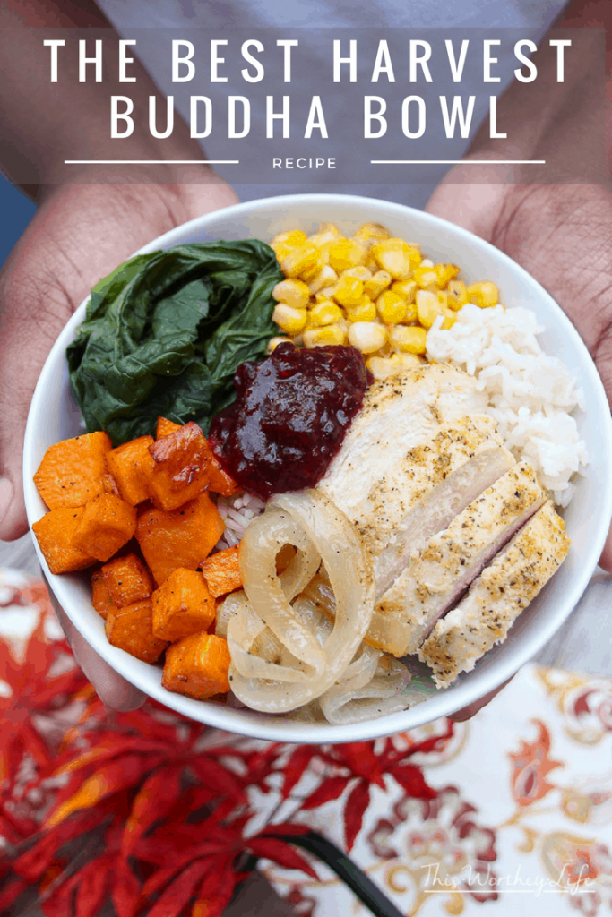 It's Thanksgiving in a bowl! Create a harvest buddha bowl with fresh produce, Jasmine rice, and deliciously seasoned chicken breasts. Get the recipe for our savory, with a sweet hint of Cranberry Sauce +Mint harvest on the blog. This is also a great way to use up Thanksgiving leftovers.