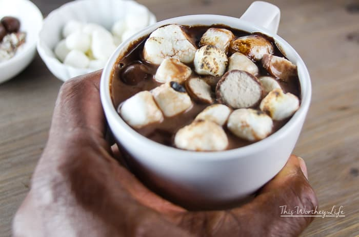 Cozy up with this hot winter drink's- a malted hot chocolate. Filled with rich chocolate, milk, and some whoppers, this quick hot chocolate recipe is ready to keep you warm on a cold winter's night.