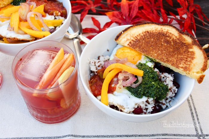 Fall Fruit Sangria and Southern Breakfast Bowl