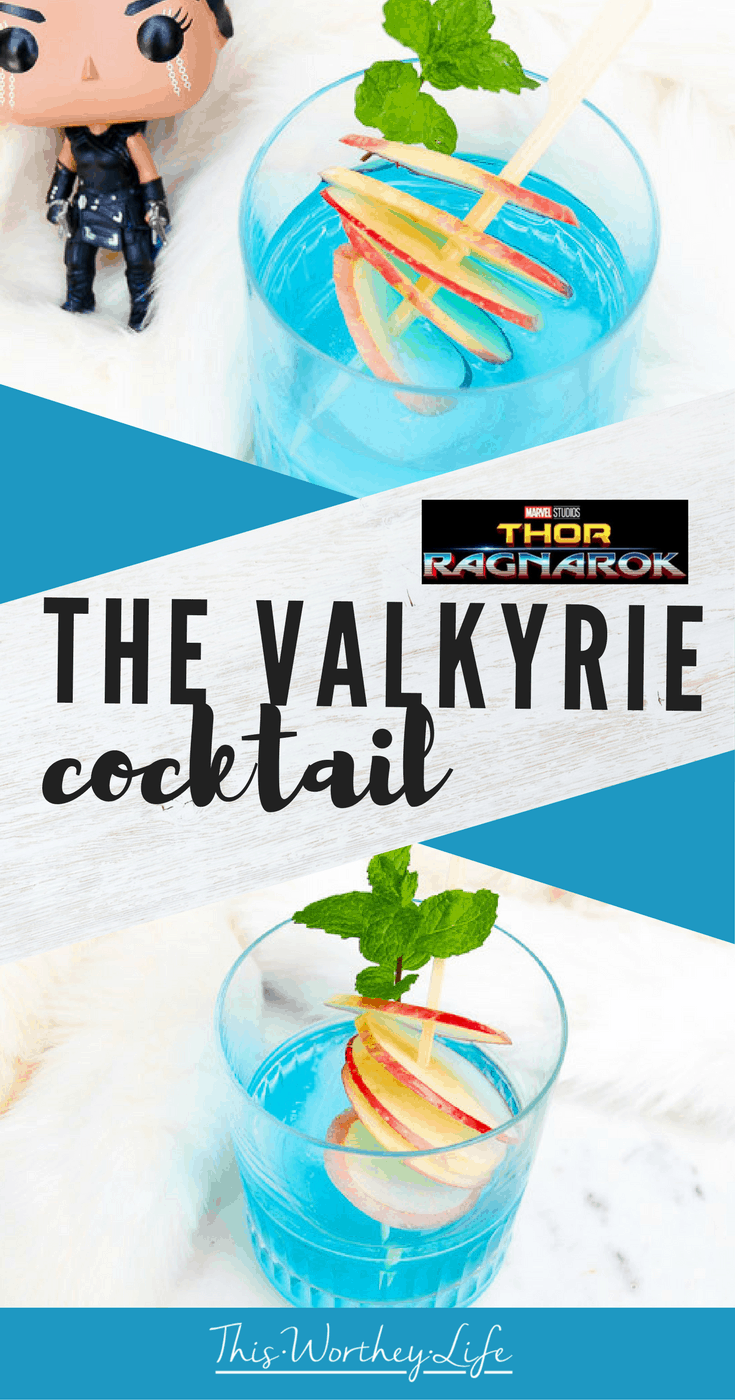 Get ready for Thor Ragnarok movie with our cocktail countdown. Try The Valkyrie cocktail, made with vodka, mint simple syrup, and blue island schnapps. We're also sharing a few details on Tessa Thompson's role as Valkyrie on the blog! Thor Ragnarok Cocktails
