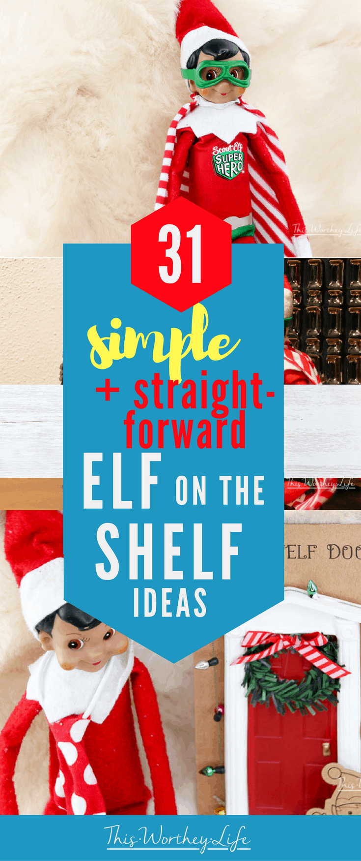 Don't let the stress of having an Elf on the Shelf get to you. I have 31 Simple Elf on the Shelf ideas that are straight to the point! Head to the blog to get our Easy and Simple Elf on the Shelf ideas to use this holiday season!