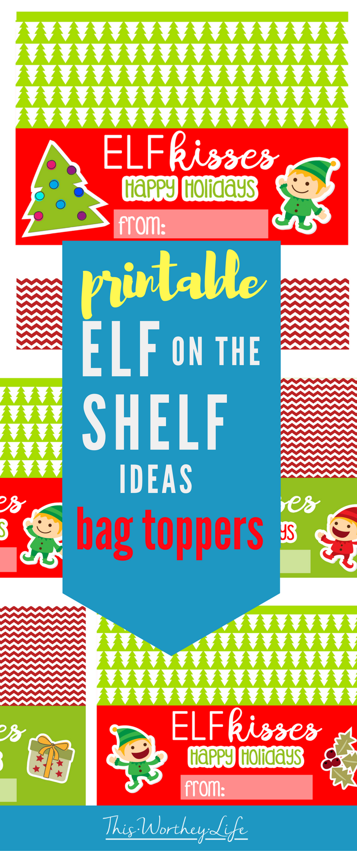You can add these Elf On The Shelf printables to the top of any bag of treats to use for holiday parties at your kid's schools, or even favors for your own hosted party.
