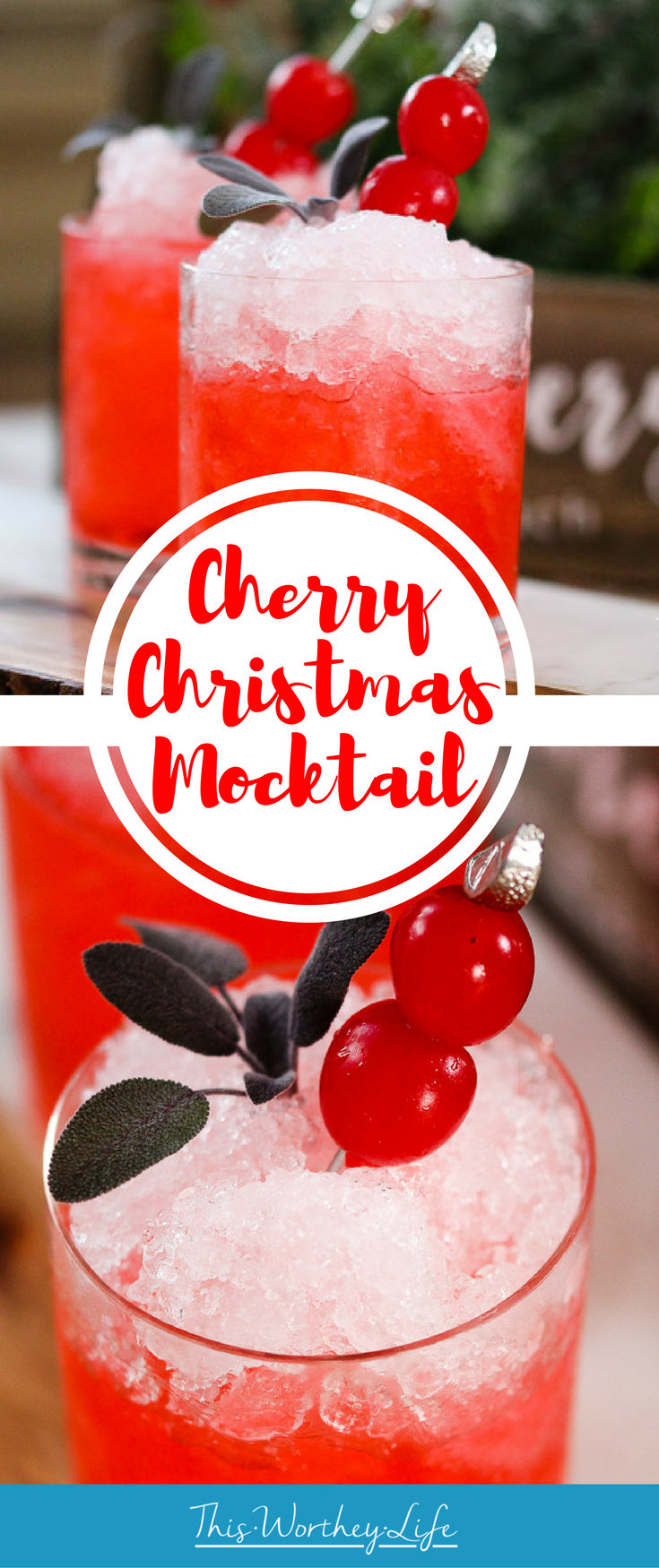 Get Christmas in a cup with our Cherry Christmas mocktail idea. Filled with cherry soda, peppermint syrup, and cherries, this frozen drink idea is a great drink idea for your holiday party.