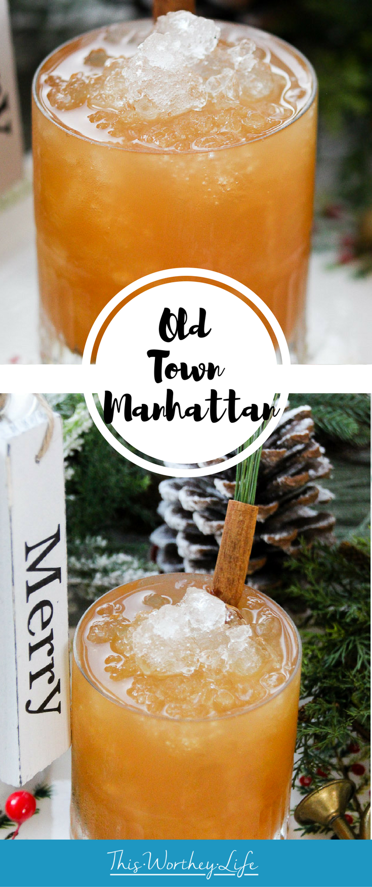 Give your classic Manhattan cocktail a twist with fresh pressed juice. And if you don't have that readily available, mix your whiskey with apple cider to create our Old Town Manhattan cocktail.