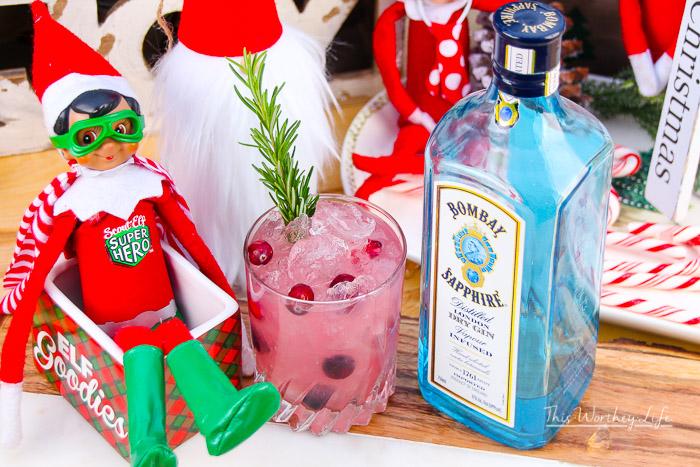 Raspberry Lemonade + Gin with Cranberries & Rosemary