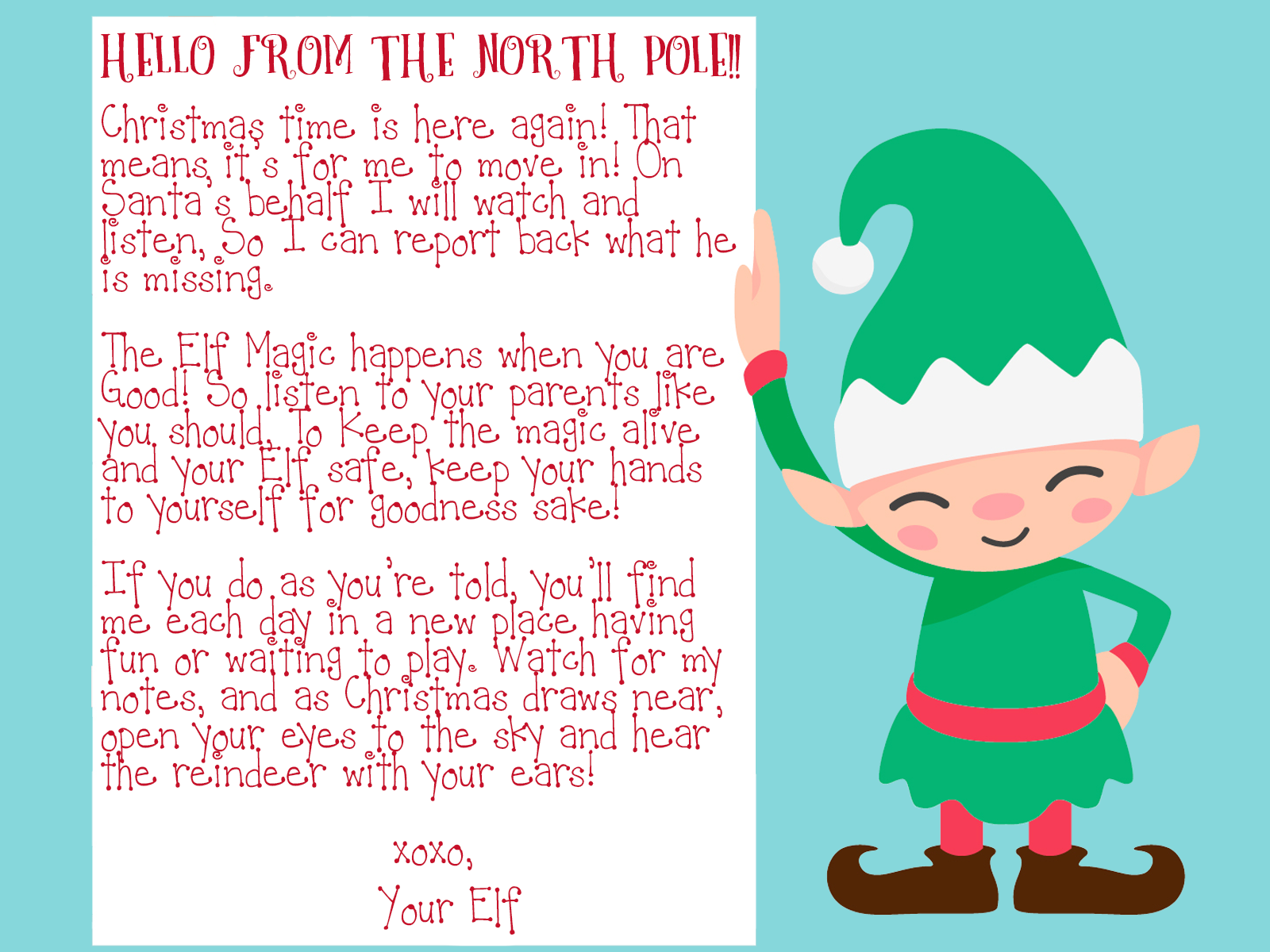 photo about Elf on the Shelf Welcome Letter Printable referred to as Elf upon the Shelf Welcome Letter Printable - This Worthey