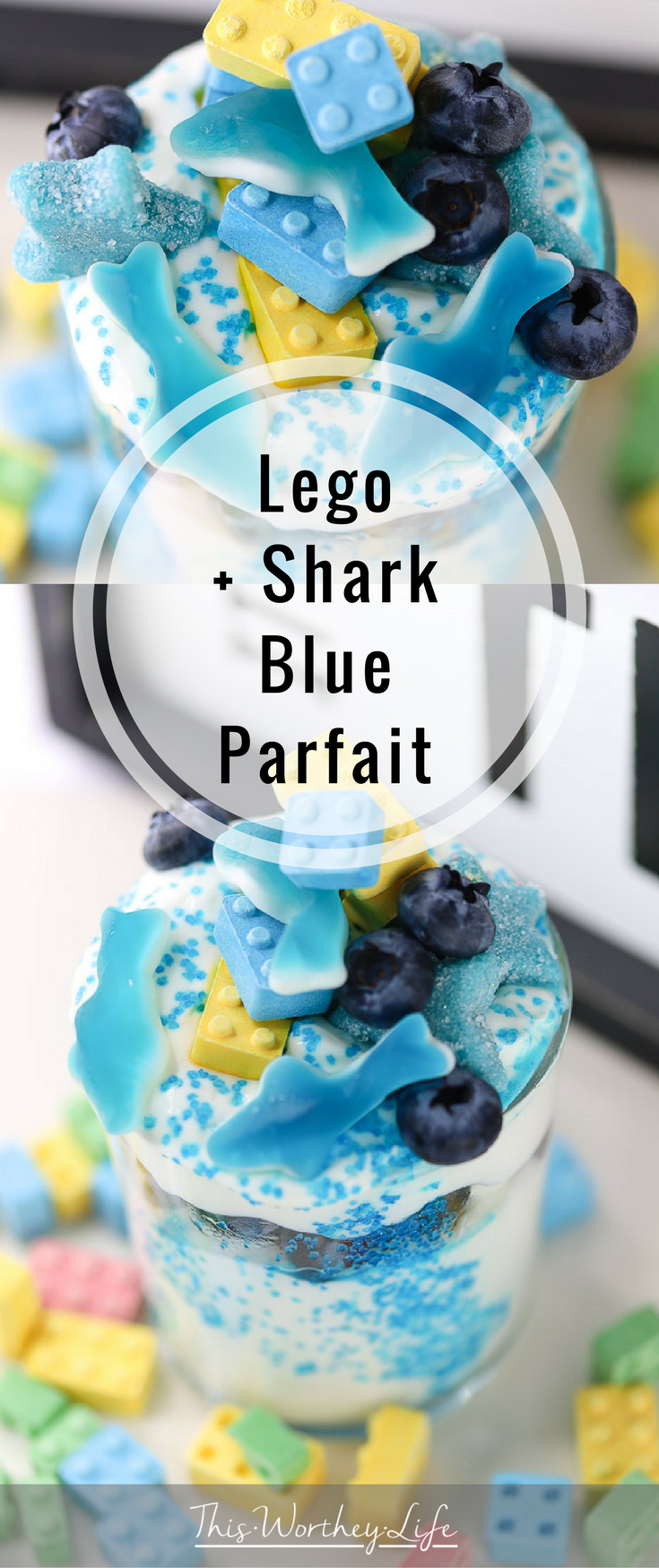 The Best Treats For Youngs Boys- Create a fun and healthy snack for the kids. This lego + blue shark parfait is a fun treat any child will enjoy. Lego toys are super popular with kids, and so will this lego food recipe idea! It's a great lego birthday snack, or to serve during shark week!
