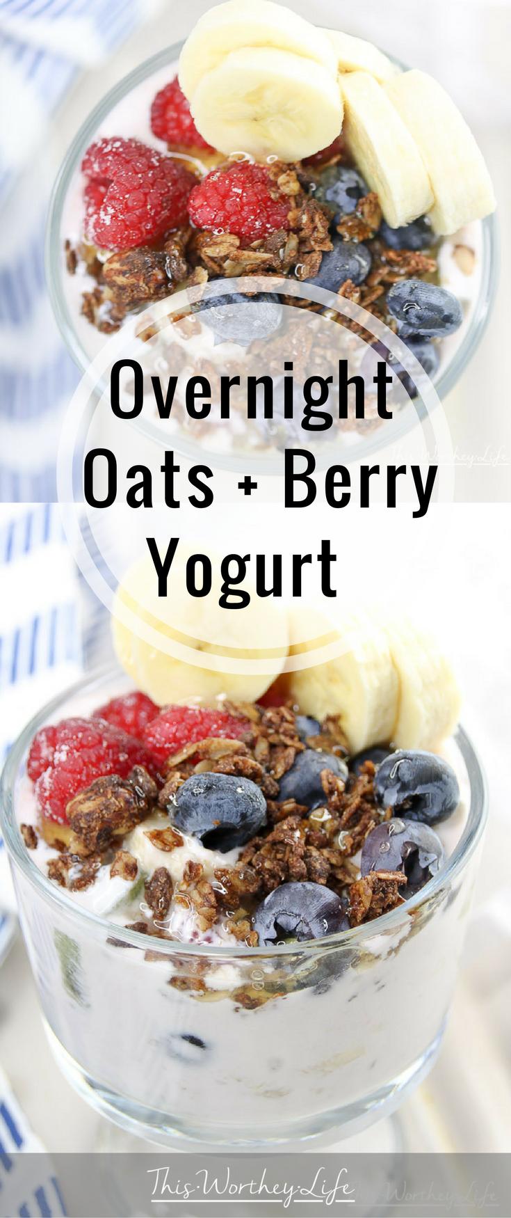 Overnight Oats + Berry Yogurt recipe