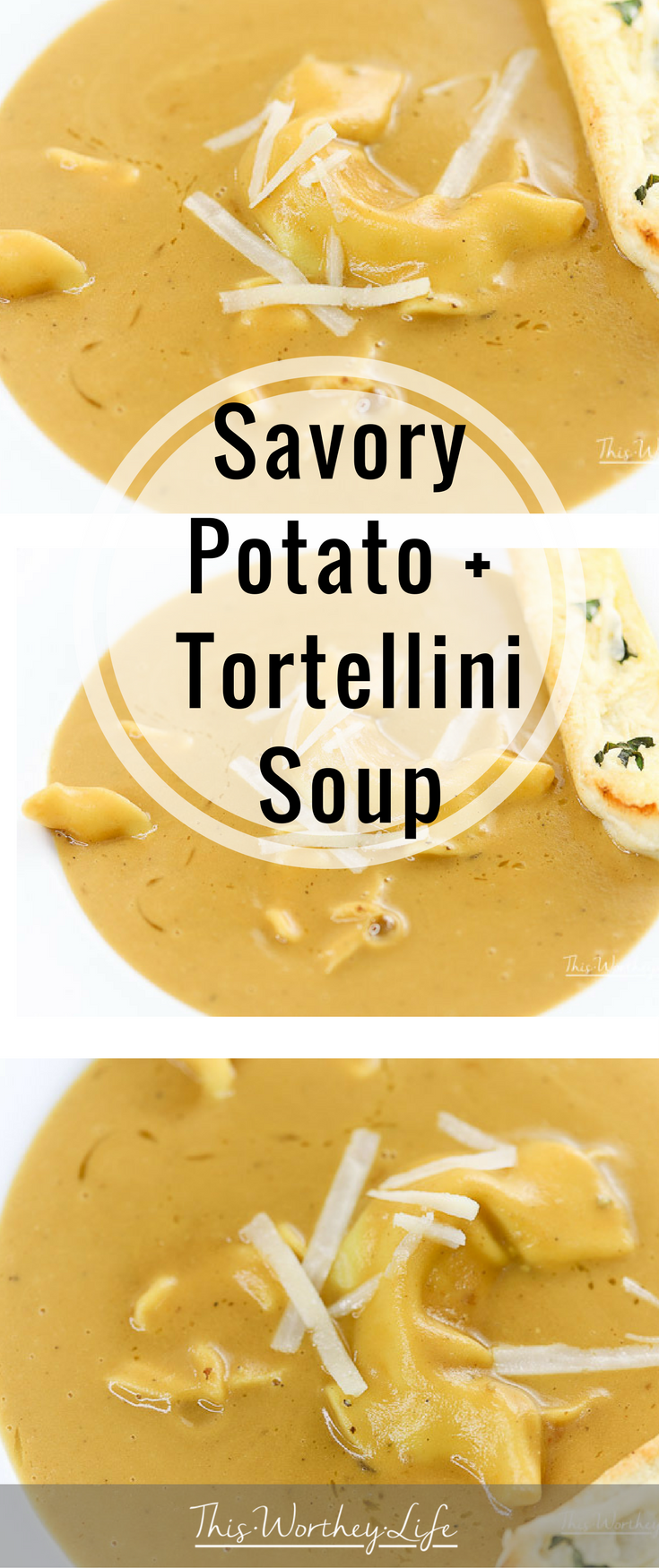 Stay warm with this hot bowl of savory potato + tortellini soup. With hearty vegetables, potatoes, tortellini, and a few other ingredients, I'm cooking this soup recipe in the Instant Pot! Get this soup recipe on the blog!