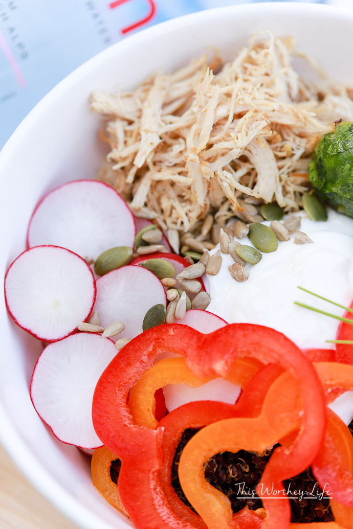 As we enter a new year, with new resolutions to make changes, yogurt bowls are super popular. However, we've switched it up by creating a savory yogurt bowl, filled with quinoa, shredded chicken, and fresh veggies. Get the recipe on the blog, as well as my health resolutions for this year.