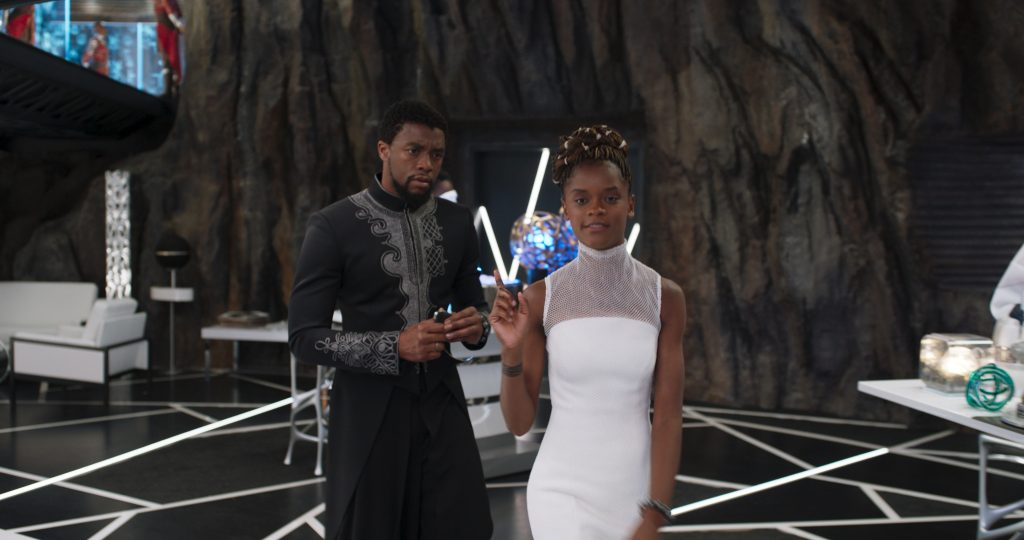 Black Panther Cast Letitia Wright and Chadwick Boseman