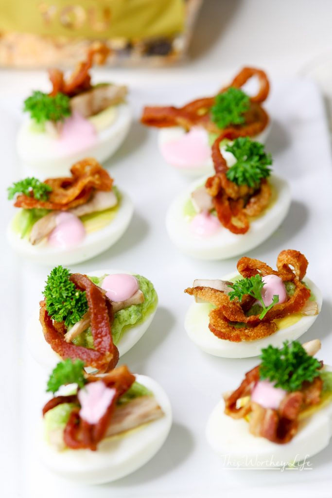 The Best Deviled Eggs - Loaded Deviled Eggs with Bacon with Beet Yogurt Creme