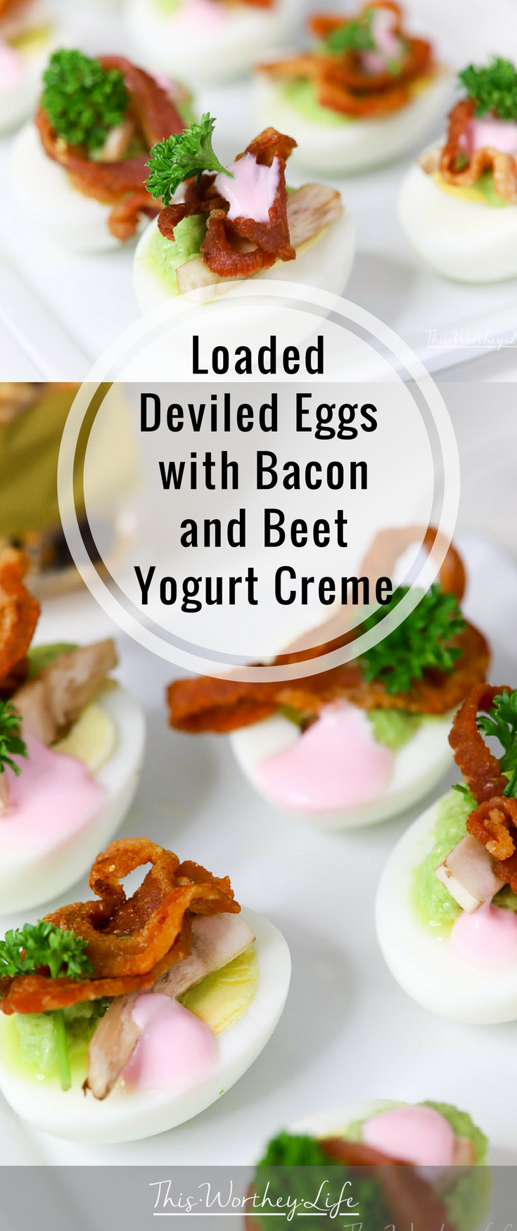 Deviled eggs are great for any type of party. Game day, holiday parties, summer picnics and cook-outs, our loaded deviled eggs recipe will be a big hit. With bacon, a unique beet yogurt creme, grab this recipe on the blog- Loaded Deviled Eggs with Bacon with Beet Yogurt Creme