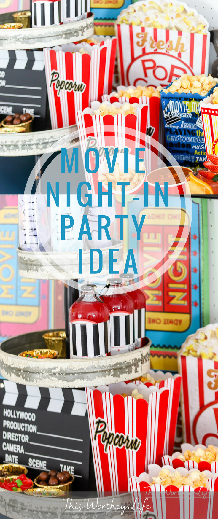 Movie Night Party Ideas for Couples-Create your own movie night-in party with snacks, popcorn, and drinks with our party ideas listed below. We're reminiscing about the drive-in movie days and created an easy movie night party idea for our friends and family!