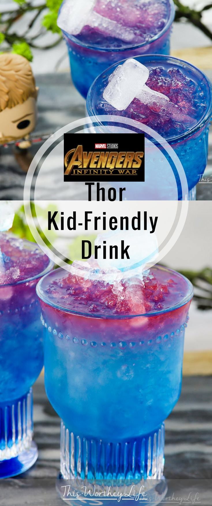 Marvel's Avengers: Infinity War drops April 27th! We're counting down with fun ideas! Try our Avenger's Thor Kid-Drink. This is a Thor drink the whole family can enjoy. Plus, with Thor inspired birthday parties and watch parties, you will want this colorful kid-drink on your menu. Get the recipe and watch the newest Infinity War trailer on the blog!