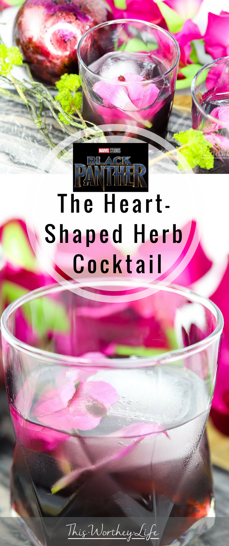 Marvel's Black Panther movie is out. We're sharing this Black Panther cocktail inspired by the heart-shaped herb a warrior would drink to become the Black Panther. I imagine, if you drink this heart-shaped cocktail, you just may gain some powers of your own!