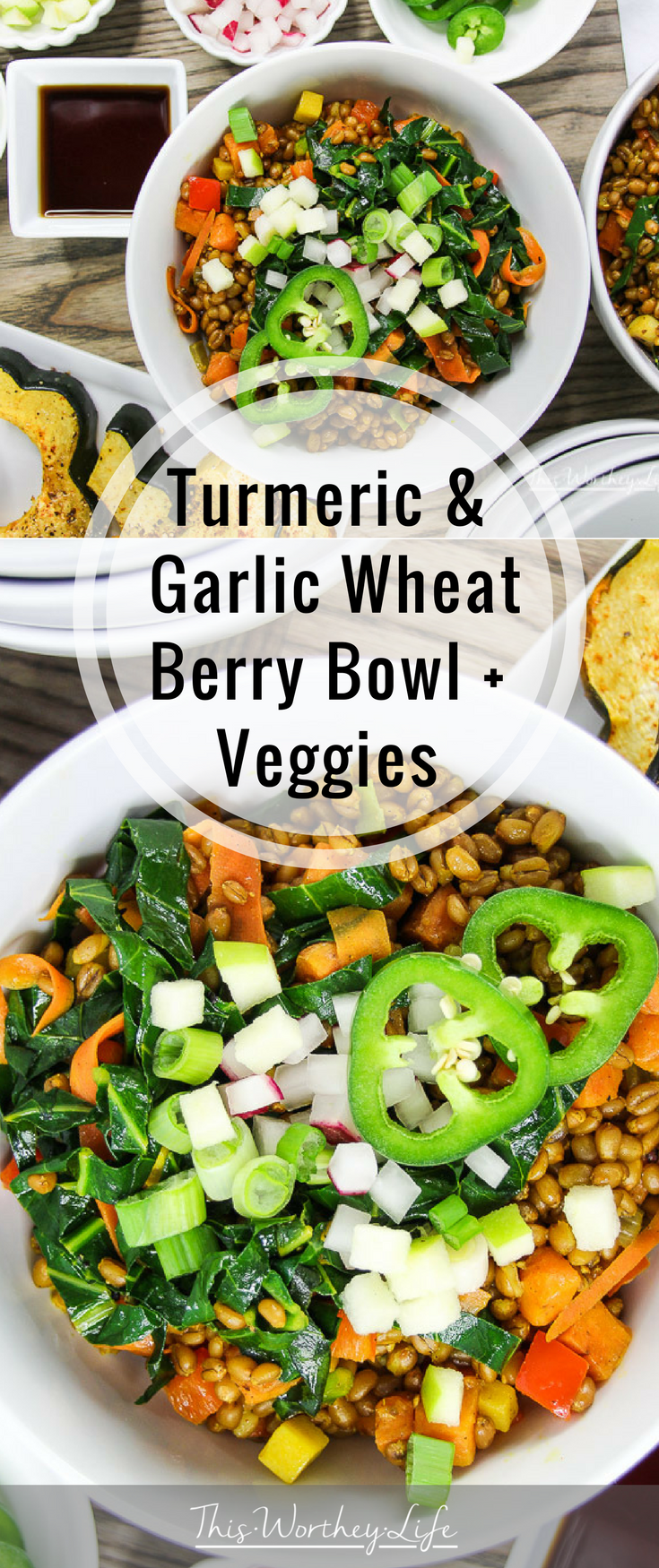 This vegetarian bowl is a healthy, delicious grain recipe that is also hearty and will have you coming back for seconds. We made the wheatberry in the Instant Pot and it turned out amazing. Our Turmeric & Garlic Wheat Berry Bowl + Veggies recipe is one to add to your list of healthy recipes to try this year!